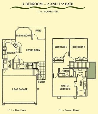 1,387 sq. ft. C1 floor plan