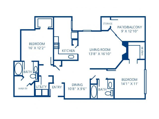 1,241 sq. ft. 2C floor plan