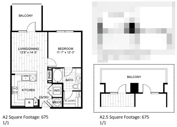 675 sq. ft. A2.5 floor plan