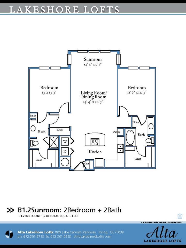 1,248 sq. ft. B1.2 floor plan