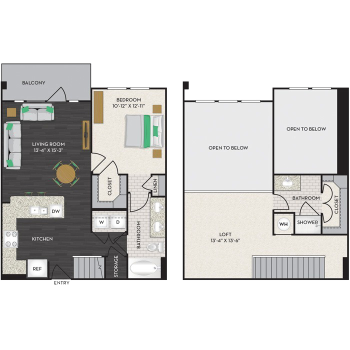 1,136 sq. ft. A2-M floor plan