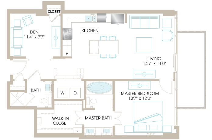 1,019 sq. ft. A6D floor plan