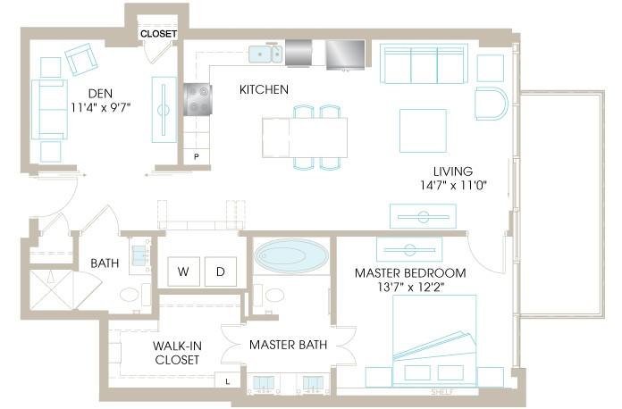 1,019 sq. ft. A6D floor plan