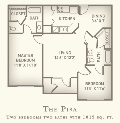 1,015 sq. ft. Pisa/Mkt floor plan
