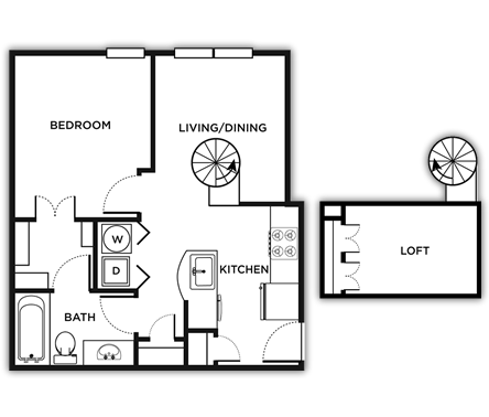 617 sq. ft. SETON(1/1 Loft)/MKT floor plan