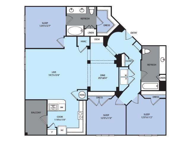 1,523 sq. ft. C1 floor plan