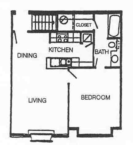 582 sq. ft. A-1 floor plan