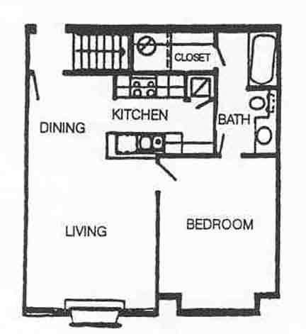 582 sq. ft. A-1 floor plan