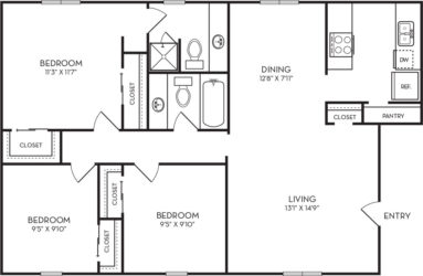 940 sq. ft. C1 floor plan