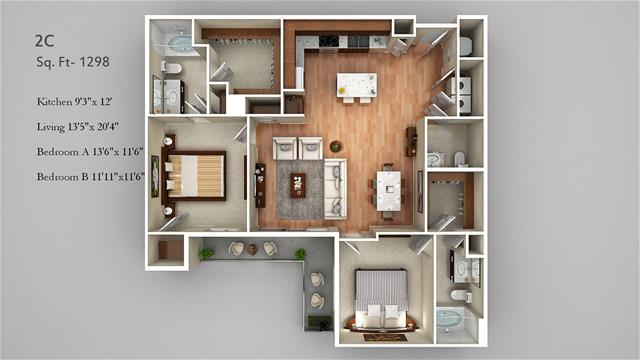 1,298 sq. ft. 2C floor plan