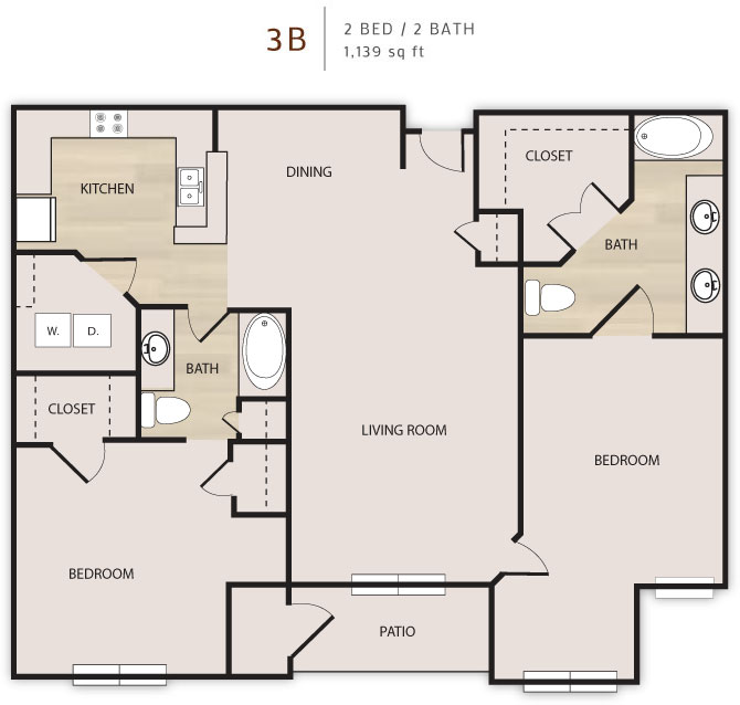 1,139 sq. ft. 3B floor plan
