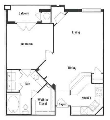 753 sq. ft. to 843 sq. ft. A2 floor plan