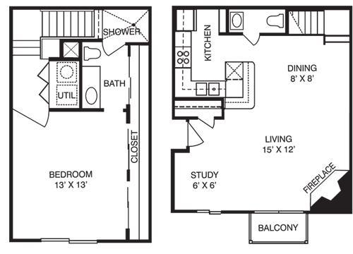 860 sq. ft. T1 floor plan