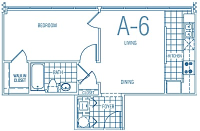 564 sq. ft. A6 50% floor plan