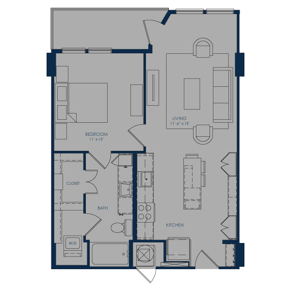 729 sq. ft. A24E floor plan