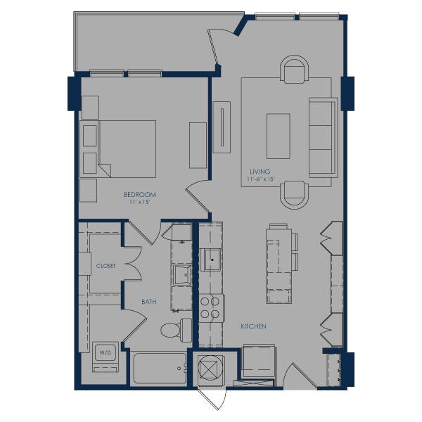729 sq. ft. A24E floor plan