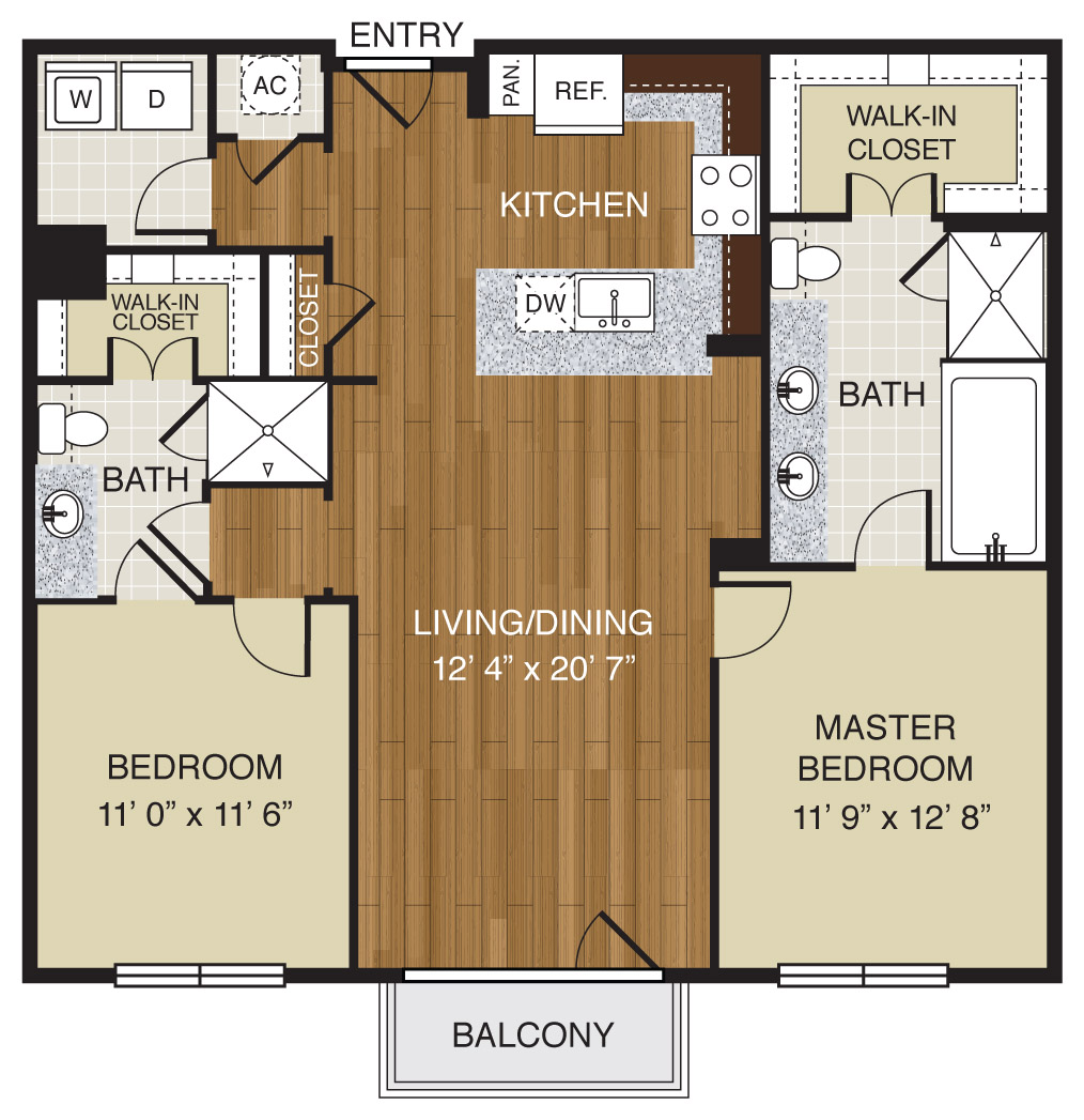 722 sq. ft. A2.3 floor plan