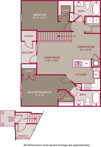 1,084 sq. ft. GREENE II floor plan