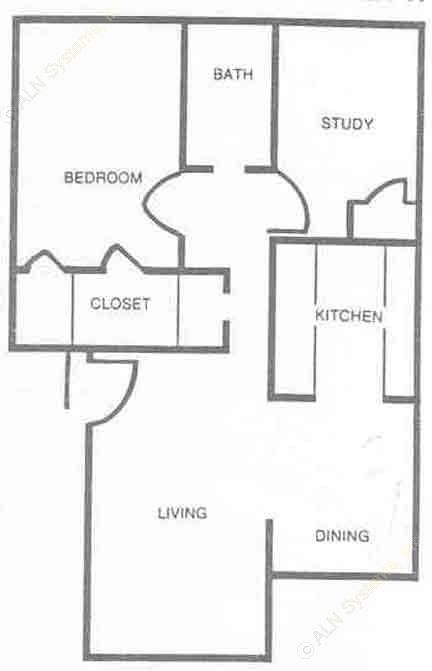813 sq. ft. B1 floor plan