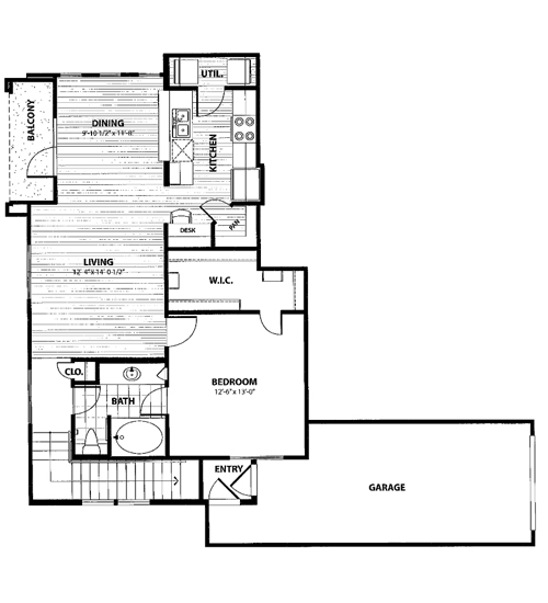 815 sq. ft. D2 floor plan
