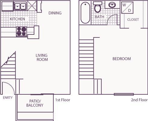 644 sq. ft. B floor plan