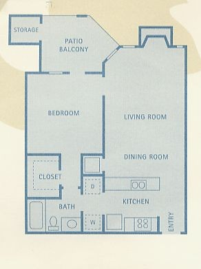 634 sq. ft. Gemini floor plan