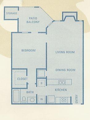 634 sq. ft. Gemini floor plan