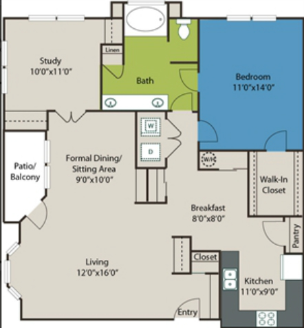 1,168 sq. ft. A9 floor plan