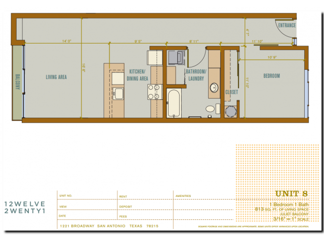 813 sq. ft. 2A8 floor plan