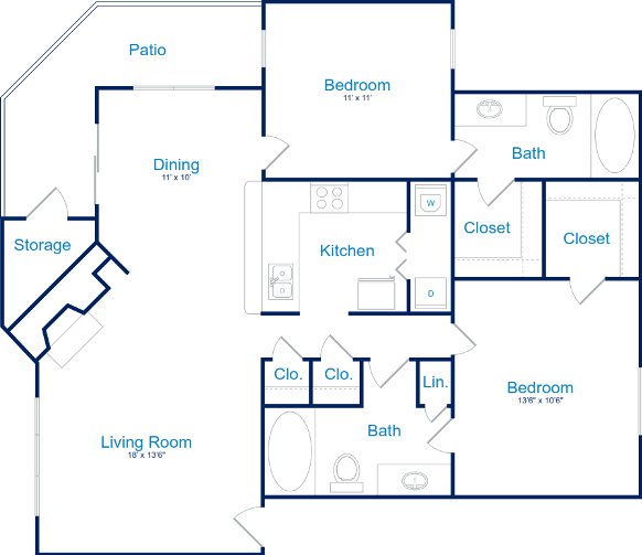 1,042 sq. ft. B-2 floor plan