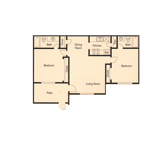 850 sq. ft. floor plan