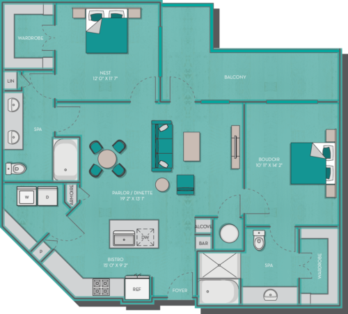 1,153 sq. ft. to 1,167 sq. ft. Bermuda floor plan