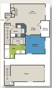 704 sq. ft. 1c w/Gar floor plan
