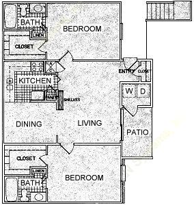 990 sq. ft. H floor plan