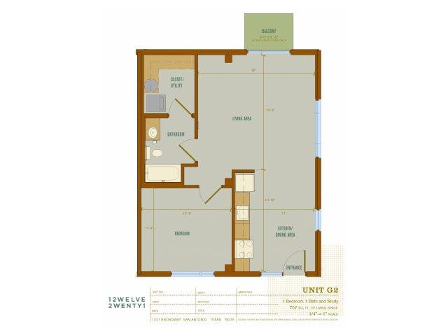 757 sq. ft. G2 floor plan