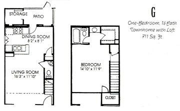 711 sq. ft. G floor plan