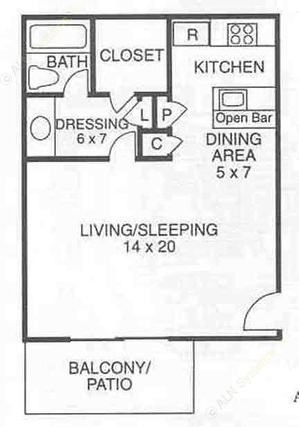 500 sq. ft. A0 floor plan
