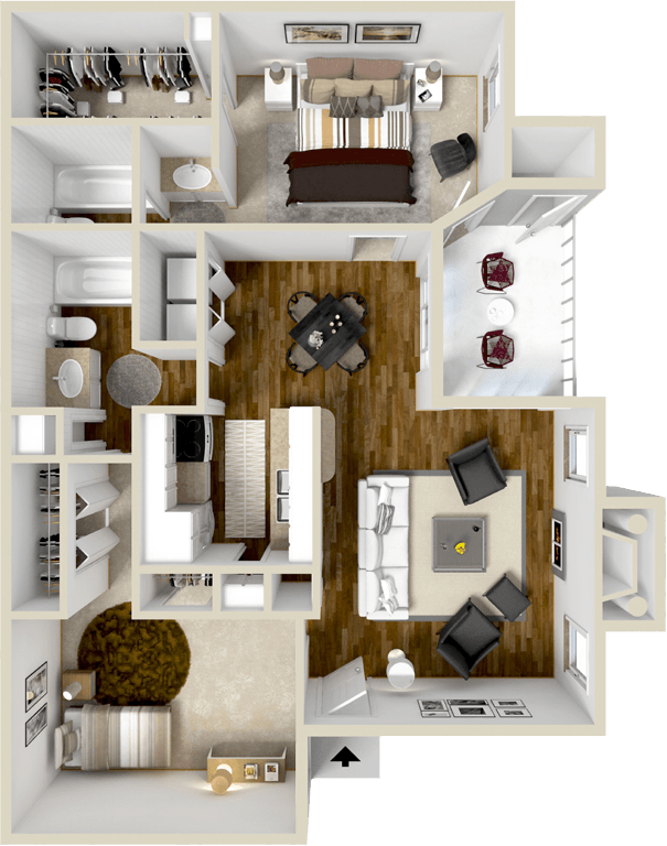 1,083 sq. ft. B2S floor plan