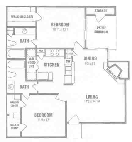 999 sq. ft. B2 floor plan