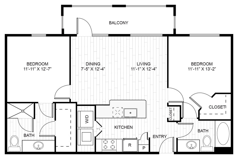 1,015 sq. ft. B1 floor plan