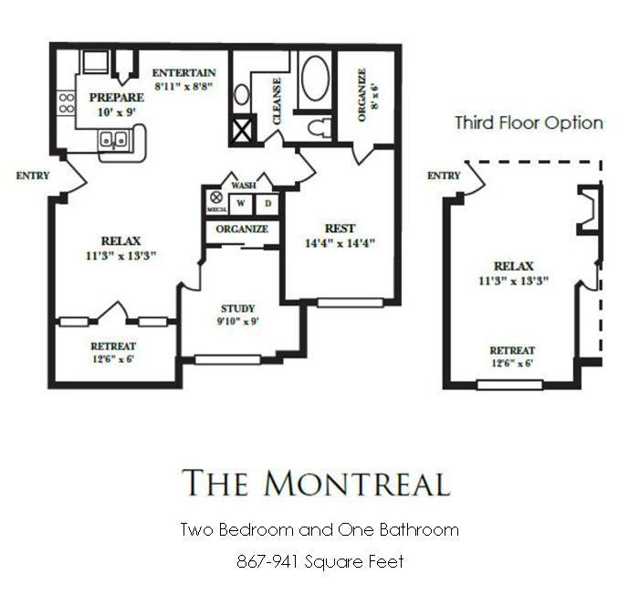 867 sq. ft. B1 floor plan
