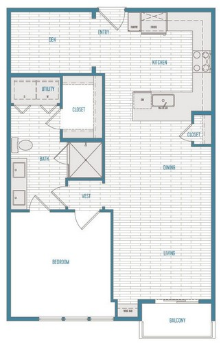 844 sq. ft. A4 Alt 2 floor plan
