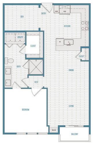844 sq. ft. A4 floor plan