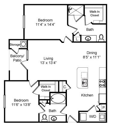 1,117 sq. ft. Heatherglen floor plan
