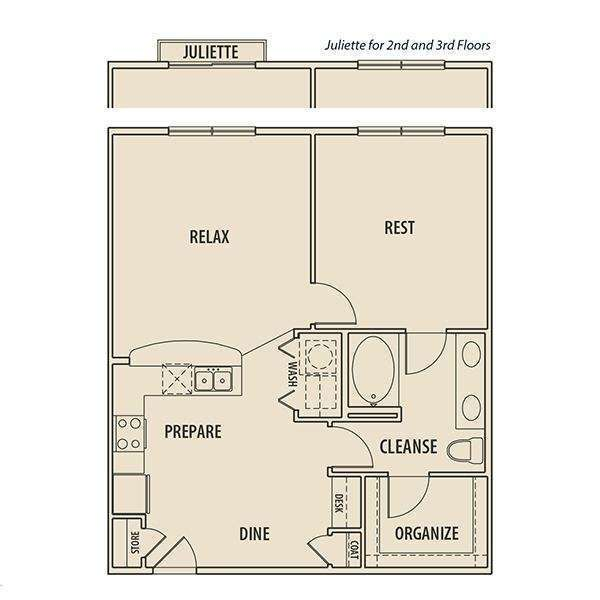 817 sq. ft. A2 P floor plan