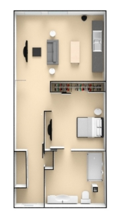 767 sq. ft. to 791 sq. ft. K floor plan