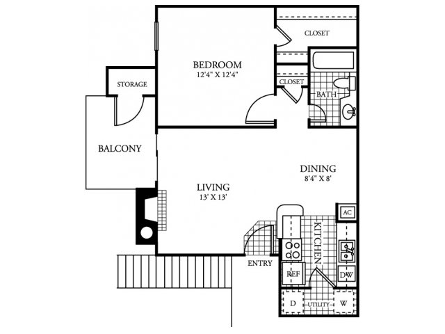 636 sq. ft. A2.1 floor plan
