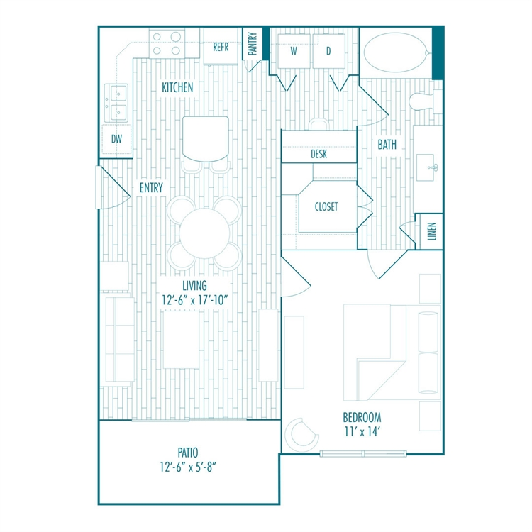 709 sq. ft. A floor plan