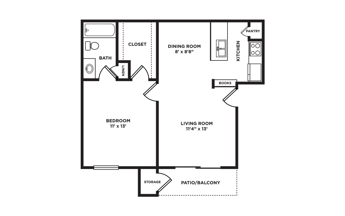 575 sq. ft. floor plan