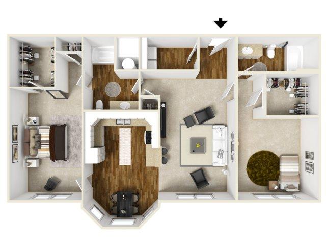 1,322 sq. ft. SOHAVEN floor plan